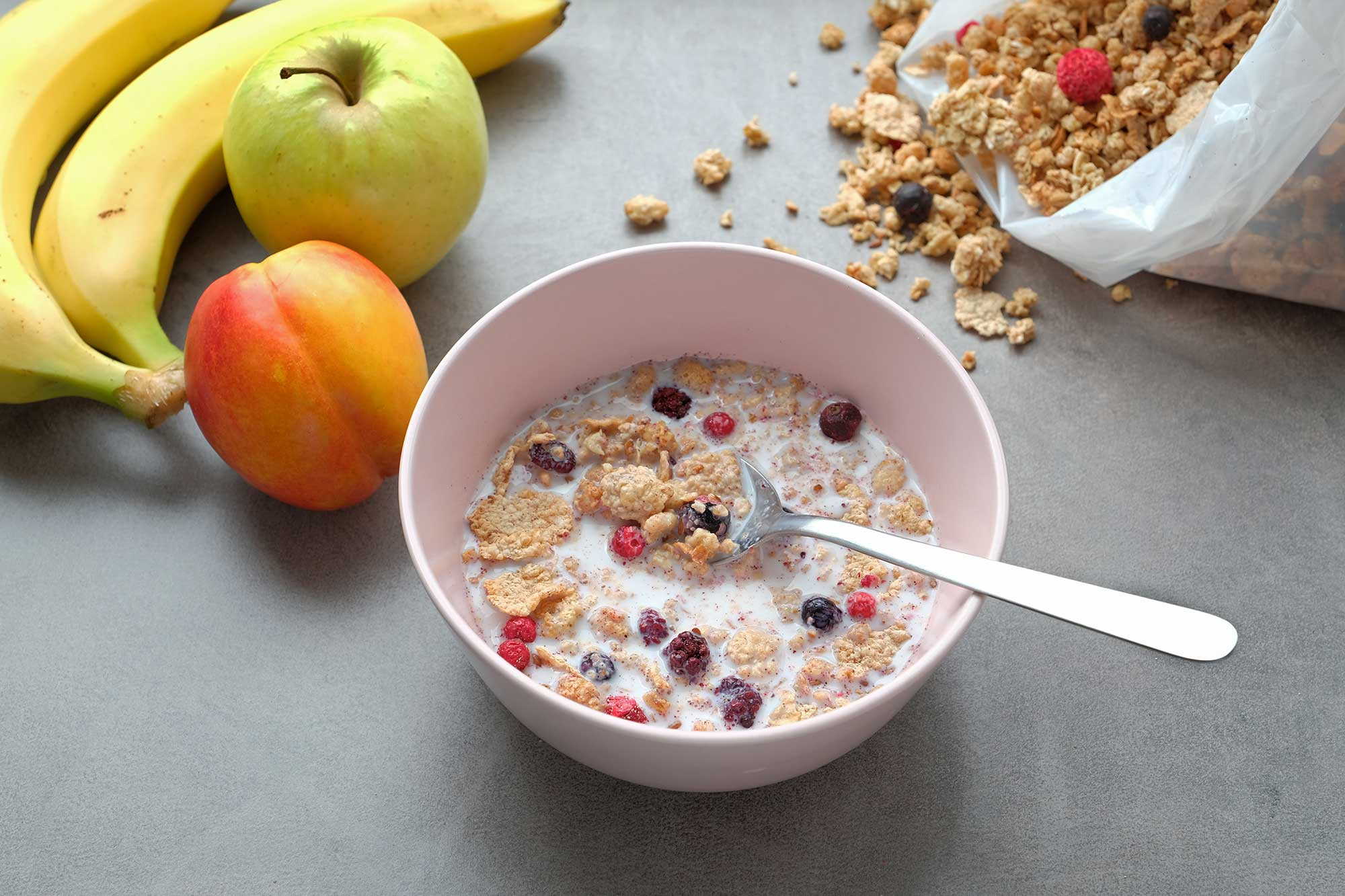 stock photo crispy muesli with garden berries delicious and healthy breakfast 1168190881